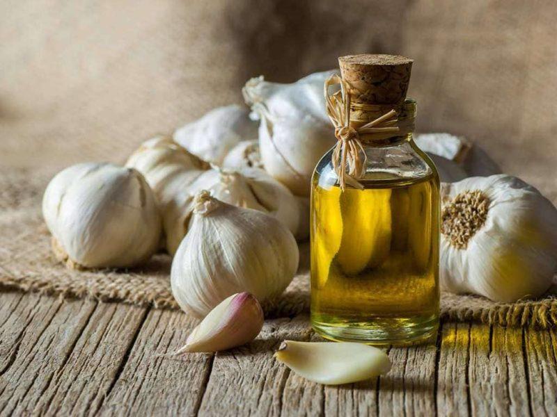 cabeças de alho e óleo de alho medicinal
