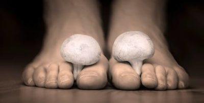 pés humanos criando cogumelos