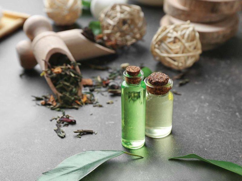 frascos de remédios do tratamento natural