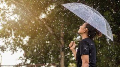 mulher com guarda chuva se protegendo da chuva